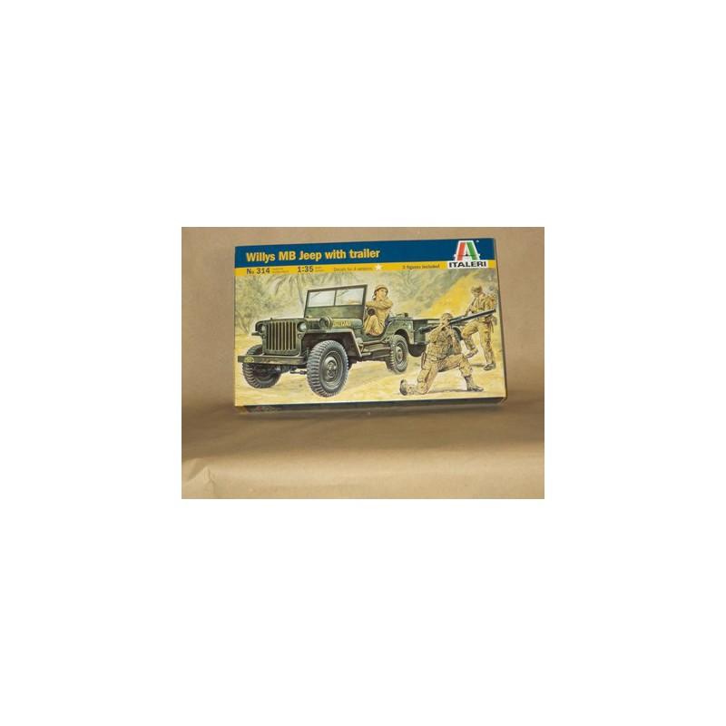 maquette militaire italeri 1 35 314 jeep willys et remorque. Black Bedroom Furniture Sets. Home Design Ideas